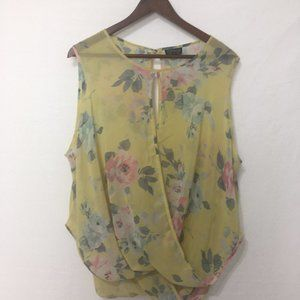 Topshop Yellow Floral Key Hole Blouse